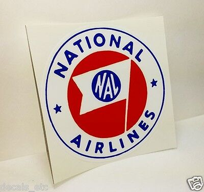 NATIONAL AIRLINES Round Vintage Style Decal / Vinyl Sticker, Luggage Label