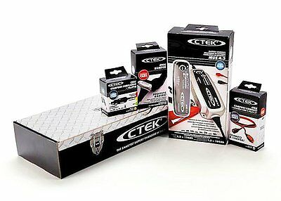 CTEK BATTERY CHARGER KIT TOOL BOX Diamond Plate Gift Box (56-CTEK) Adapter Cable