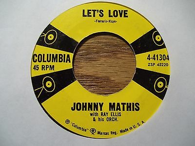 """JOHNNY MATHIS """"LET'S LOVE"""" 45 RPM"""