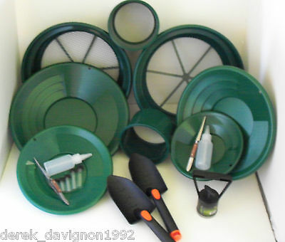 SE Green Mini / Large Gold Classifier Screen & Gold Pan Panning Kit