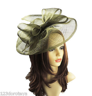 Olive Green Fascinator for Ascot, Weddings, Proms, Derby, Formal Events C2