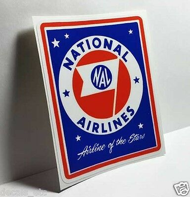 "NATIONAL AIRLINES ""Airline of the Stars"" Vintage Style Decal / Vinyl Sticker"
