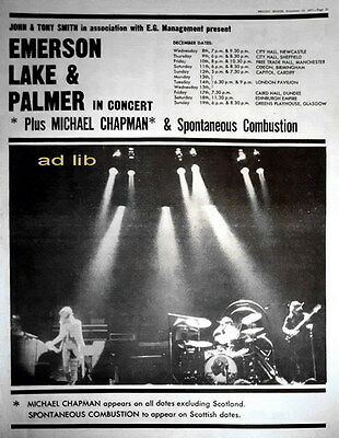 Emerson, Lake & Palmer - In Concert, Poster-Size Advert/ad/advertisement 1971