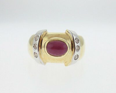 Estate Natural Ruby Diamonds Solid 14k Yellow White Gold Ring 12mm Band