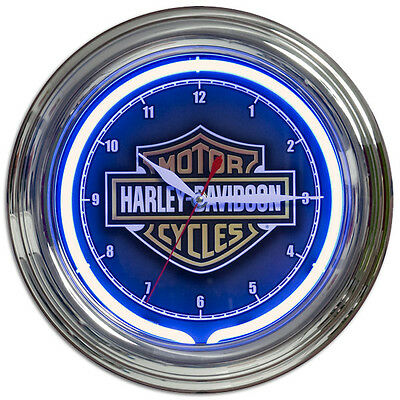 Harley-Davidson Neon Clock Blue Bar and Shield Motorcycle Garage Decor 12 x 12