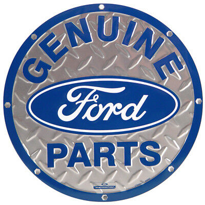 Genuine Ford Parts Embossed Metal Sign Body Shop Garage Wall Decor 12 in.
