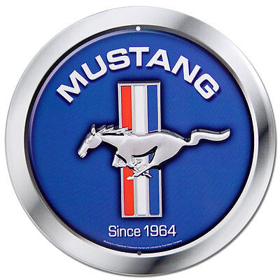 Ford Mustang Since 1964 Metal Sign Vintage Logo Round Blue Muscle Car Wall Art