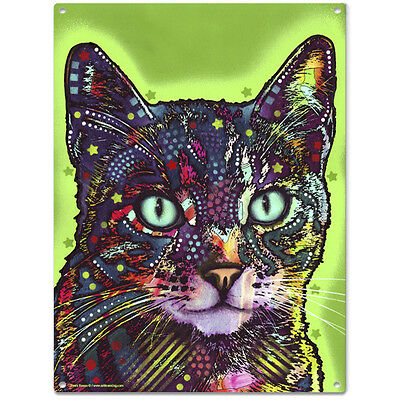 Watchful Shorthair Cat Dean Russo Pop Art Sign Pet Steel Wall Decor 12 x 16