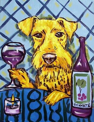 Airedale Terrier wine dog 8.5x11 signed art print animals impressionism