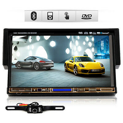 """7""""  Single 1DIN In Dash Touch Car DVD Radio Stereo Player iPod TV Bluetooth+Cam"""