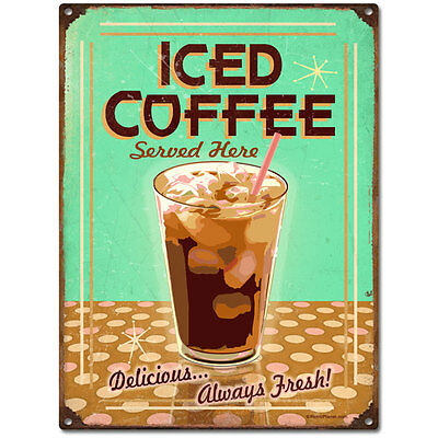 Ice Coffee Served Here Cafe Metal Sign Vintage Style Kitchen Decor 12 x 16