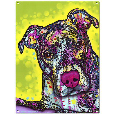Pit Bull Brindle Dog Dean Russo Pop Art Sign Pet Steel Wall Decor 12 x 16