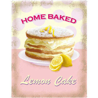 Lemon Cake Home Baked Metal Sign Vintage Style Bakery Kitchen Decor 12 x 16.