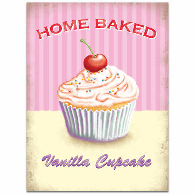 Vanilla Cupcake Home Baked Metal Sign Vintage Style Bakery Kitchen Decor 12 x 16