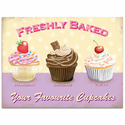 Cupcakes Freshly Baked Favorite Metal Sign Vintage Style Bakery Decor 16 x 12
