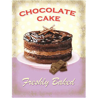 Chocolate Cake Freshly Baked Metal Sign Vintage Style Bakery Kitchen 12 x 16.