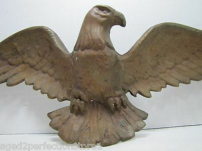 Antique 19c American Eagle Figural Wall Art Statue bronze brass ornate detailing