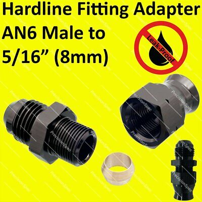 """AN6 Male to 5/16"""" (8mm) Hardline Tube Fitting Adapter - Black"""