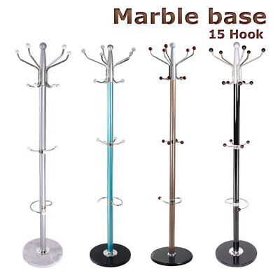 New Metal Coat Clothes Hat Umbrella Stand Rack Hanger Marble Base Multi Colours
