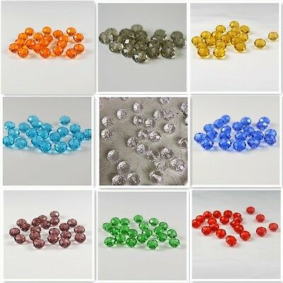 Crystal Clear Gemstone Loose Beads String Faceted Transparent Glass 40 Sections
