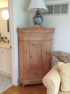 Antique Pine Footed Corner Cabinet Carved Top England