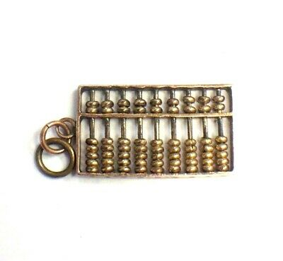 14k SOLID YELLOW GOLD ABACUS PENDANT CHINESE CALCULATOR CHARM VINTAGE