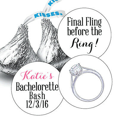 108 Bachelorette Party, Final Fling Hershey Kiss Labels Stickers Favors Diamond