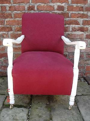 Original Art Deco Armchair Chair with Painted Wooden Frame Recovered Red Fabric