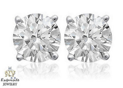 CERTIFIED 1.00ct 1ct ONE CARAT ROUND-CUT H/SI2 DIAMONDS 14K GOLD STUDS EARRINGS
