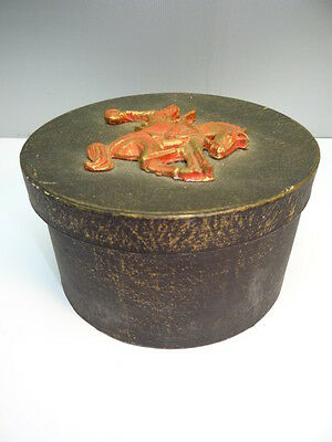 Vintage Used Wood Cowboy Rodeo Hat Box Container Lone Ranger? Gift Certificate?