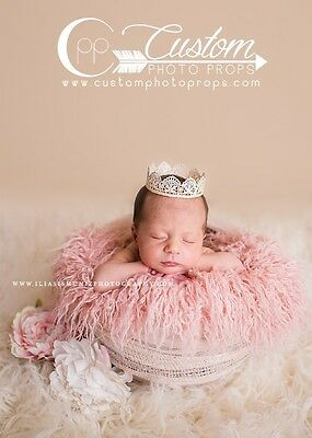 Peony Pink Curly Sheep Basket Stuffer Faux Flokati Fur, Newborn Photography Prop