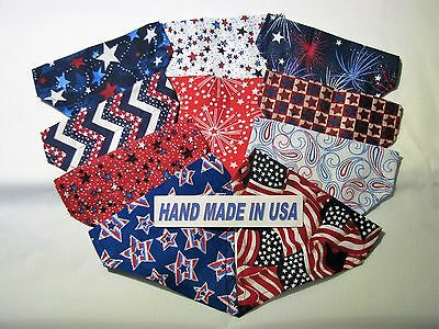 Over-the-Collar USA Made Patriotic Bandanas, Dog/Cat/Ferrit/Large/Small Breeds