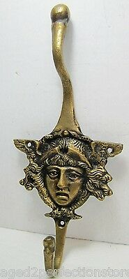 Antique Architectural 1800s Victorian Figural Face Brass Double Wall Hanger Hook