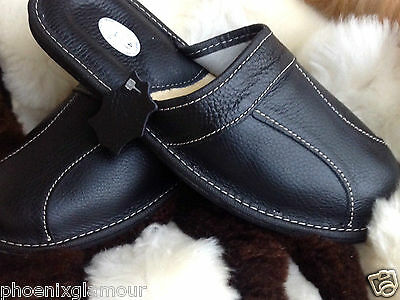 New Mens Leather Slippers Black Shoes Size 7 8 9 10 11 12 13 14 Luxury Flip-Flop