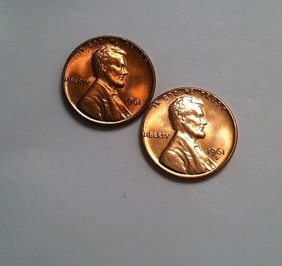 1961 and 1961-D BU  Lincoln Cent Set