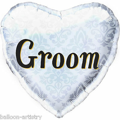 "18"" Classic Love GROOM Wedding Party Elegant Heart Foil Balloon"