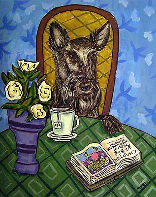 Scottish terrier coffee dog signed by artist print animals impressionism 11x17