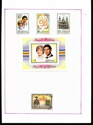 Liberia 1981 Royal Wedding Album Page Of Stamps #V1068