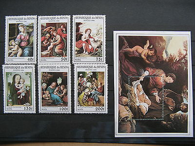 BENIN, stamps MNH 1996, set + S/S art Christmas Rafael da Vinci, sheep donkey