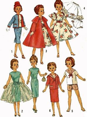 Vintage Doll Clothes Pattern 3252 for 14 in Toni Revlon Dollikin Sweet Sue Ideal