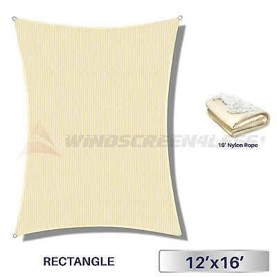 12' x 16' Rectangle Sun Shade Sail Fabric Outdoor Pool Canopy Patio Awning Cover
