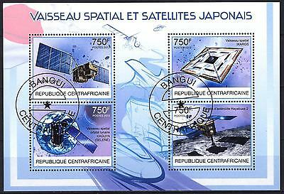 Central African Republic 2012 Space Japanese Satelites Sheet of 4 used