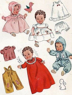 Vintage Doll Clothes Pattern 3406 for 14 in Betsy Wetsy Tiny Tears by Ideal