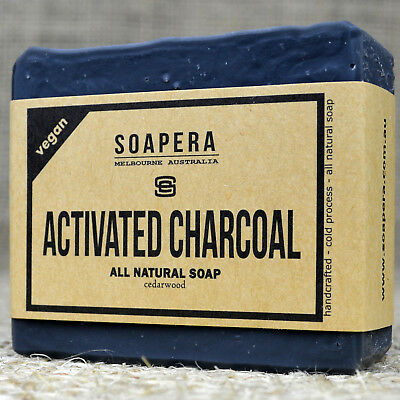 1 x ACTIVATED CHARCOAL - black as midnight-  natural cold process handmade soap