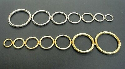 x10 Welded O-Rings Brass & Nickel Plated Various Sizes Webbing Bags Straps Leads