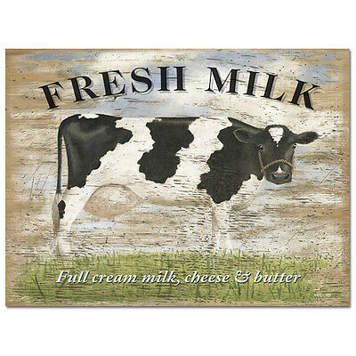 Fresh Milk Cheese Butter Metal Sign Wood Look Cow Kitchen Decor 16 x 12