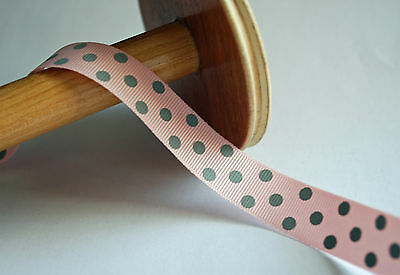 GROSGRAIN Ribbon - PINK WITH GREY SPOTS - 15mm Wide