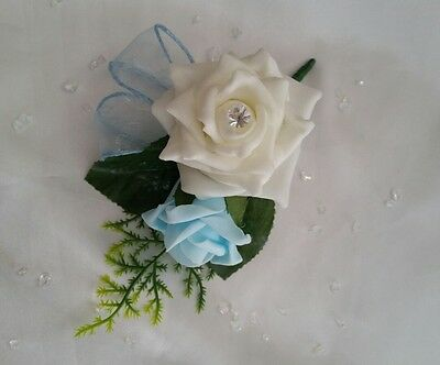 Blue Wedding Flowers Artificial Roses  Corsage Realistic Foliage Ribbon Loops