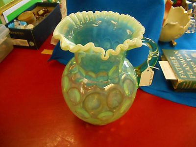 Vintage green opalescent pitcher and 5 tumblers