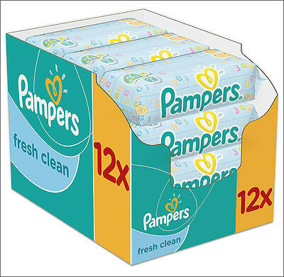 Pampers Fresh Clean Wipes - 12 x Packs of 64 (768 Wipes) *BRAND NEW*